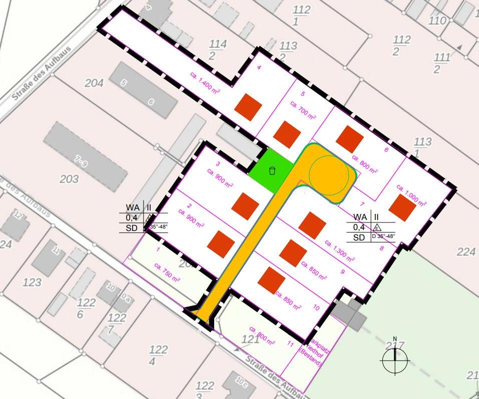 Skizze Bauland Großthiemig Strasse des Aufbaus